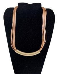 Colar Tipo Fio (são 10 Fios) Dourado com Pingente Dourado com Strass