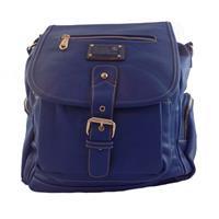 Bolsa feminina azul estilo mochila em couro sintético, emborrachado