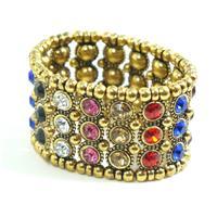 Bracelete dourado envelhecido com pedras coloridas