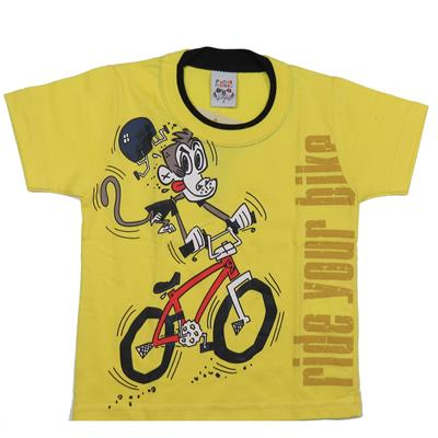 Camiseta Infantil Amarela com estampa Macaco - Randa Mundu