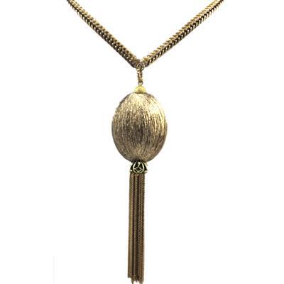 Maxi Colar Medalhão ouro velho e franja
