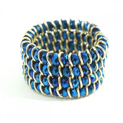 Pulseira dourada com pedras azuis