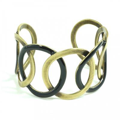 Bracelete dourado envelhecido com preto