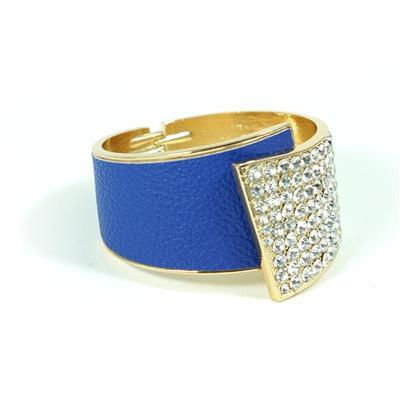 Bracelete dourado com azul e strass