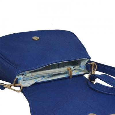 Bolsa feminina azul com strass em couro sintético, emborrachado
