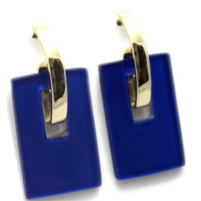 Maxi Brinco Dourado com Resina quadrada Azul